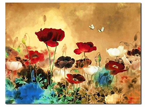 CanvasPrint, the Blooming Poppies - HugeCanvasPrint, StretchedandFramed, ModernCanvasWallArtforHomeDecoration, Floral Canvas Art, Paintings Style FL1-5070