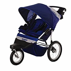 Schwinn Free Wheeler 2 Double Swivel Wheel Jogging Stroller (Blue/Gray)