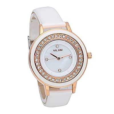 Womens Casual White Leather Strap Quartz Watches Ladies Fashion Diamonds Wristwatch