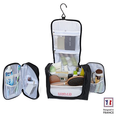 Beauty Case Appendibile Extra-Large di Walden. Beauty case format famiglia nero da uomo / donna con gancio resistente+zip e scomparto laterale removibile per prodotti di igiene, make-up o farmacia.