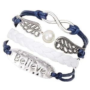 Cadeau Noel MARENJA Fashion-Cadeau Noel ou Homme-Bracelet en Cuir Blanc et Bleu Tisse Fait Main Tresse avec Plusieur element