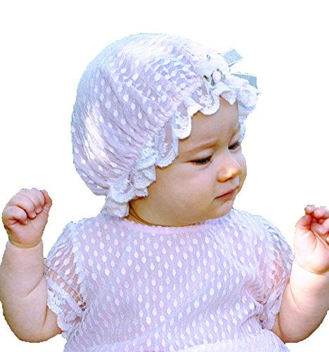 Romantique Bebe Baby Girls Dotted Lace Vintage Granny Cap sz 3/6 mos, Pink (Hat Granny)