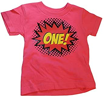 "Custom Kingdom Baby Girls' ""One"" Superhero Colorful First Birthday T-shirt"