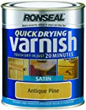 Ronseal QDVSAP250 250ml Quick Dry Varnish Coloured Satin - Antique Pine