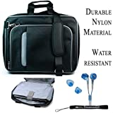 Pro Messenger Bag Soft Nylon Carrying Case (Black Silver) For Dell Inspiron Duo 1090 Netbook + BLUE HD Earphones