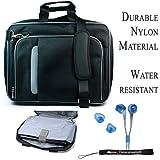 Pro Messenger Bag Soft Nylon Carrying Case (Black Silver) For Dell Inspiron Mini 10 Netbook + BLUE HD Earphones