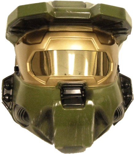 Halo Master Chief Costume Vacuform Half-Mask, Green, One Size