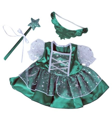Green-Fairy-Princess-wWand-Tiara-Dress-Fits-Most-8-10-Webkinz-Shining-Star-and-8-10-Make-Your-Own-Stuffed-Animals-and-Build-A-Bear