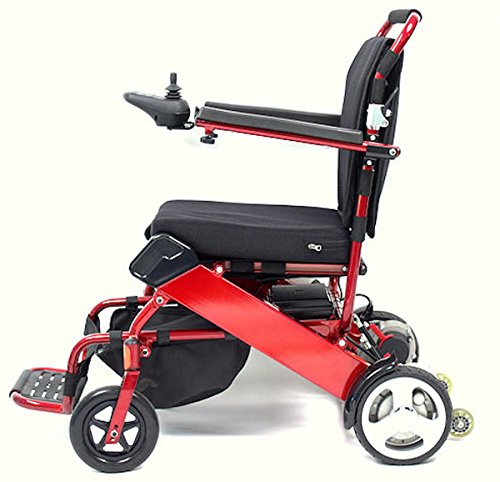 Geo Cruiser Portable Foldable Lightweight Electric Wheelchair (Red)