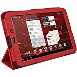 "igadgitz Rot PU Leder Tasche Schutzhülle Etui Case Hülle für Motorola Xoom 2 Media Edition Droid Xyboard 8.2"" Android Tablet 16GB Wi-Fi 3G + Display Schutzfolie"