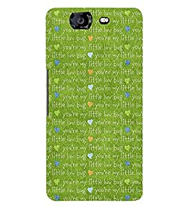 LOVE QUOTE ON A GREEN BACKGROUND 3D Hard Polycarbonate Designer Back Case Cover for Micromax Canvas Knight A350