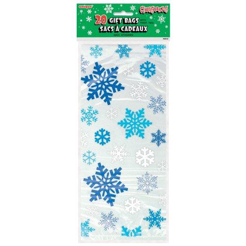 20 Bolsas de celofán - Diseño de copos de nieve azules
