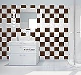 50 pezzi piastrelle adesivo cucina bagno piastrelle adesivo piastrelle decorazione pellicola, marrone, 20 x 20 cm