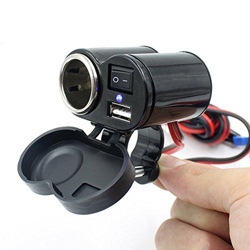VORCOOL Porta di alimentazione USB moto presa accendisigari per GPS cellulare MP3