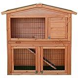 Hasenbedarf ᐅ Stall ᐅ Hasenstall aus Naturholz mit 2 Etagen in XXL