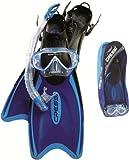Cressi Kids Palau Fins Plus Onda Mask Plus Gamma Snorkeling Set - Blue/Black, XX-Small/X-Small
