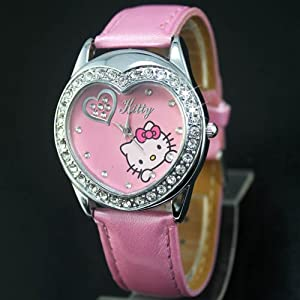 Hello Kitty Pink Heart Shape Crystal Wrist Watch + Free Red Heart Necklace