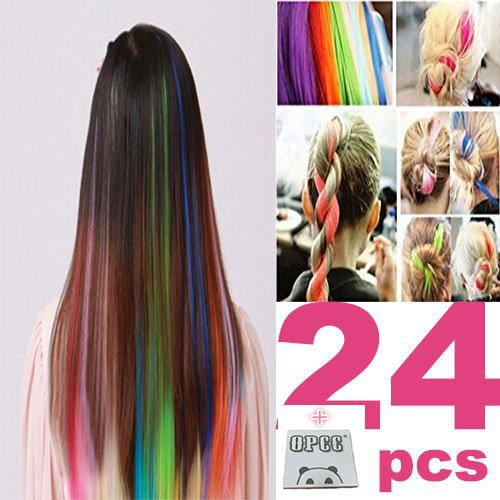 24 PCS Color OPCC Bundle 22 Inches Multi-Colors Party Highlights Colorful Clip In Synthetic Hair Extensions,1PCS Opcc Sticky Notes included (Highlight Extensions Clip compare prices)