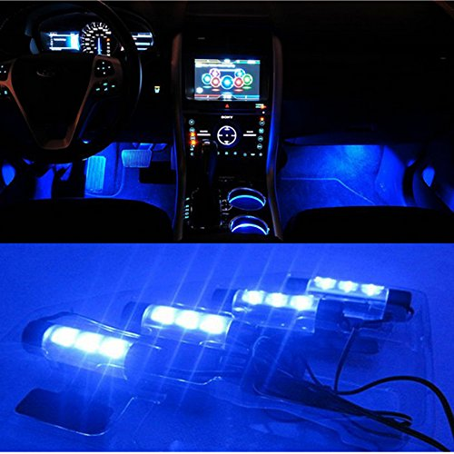 BreaDeep 4X3 LED Atmosphere Lights 12V Car Auto Interior Decorative 4in1 Lamp Blue