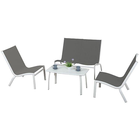 Evergreen Set salottino tortora 2 sedie 1 divanetto 1 tavolino esterno EG50575