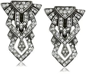Ben-Amun Jewelry Deco Tower Clip on Earrings