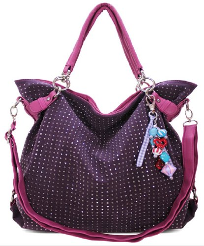 Purple Fashion Designer Diamante Slouch Handbag