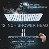 YaKult(TM) Luxury 12 Inch Large Square Stainless Steel Shower Head High Pressure Rainfall Showerhead Ultra Thin Water Saving Chrome Finish 2.5 Gpm