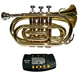 MERANO GOLD LACQUER POCKET TRUMPET WITH CASE + FREE METRO TUNER (Color: gold)