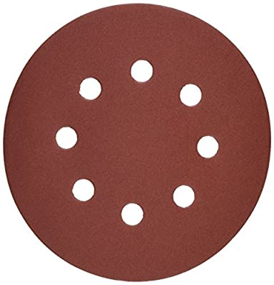 Bosch SR5R322 Random Orbit Sander Hook and Loop 8 Hole Disc 5-Inch 320 Grit Sand Paper, Red, 25-Pack