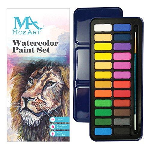 Watercolor Paint Set - 24 vibrant colors - Lightweight and portable - Perfect for budding hobbyists and professionals - Paintbrush included - MozArt Supplies (Watercolor Pots compare prices)