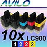 Brother LC900 10-Pack Compatible Ink Cartridges for DCP110C, DCP115C, DCP120C, DCP310CN, DCP315CN, DCP340CW, MFC210C, MFC215, MFC310CN, MFC410CN, MFC420CN, MFC425CN, MFC620, MFC620CN, MFC640CW, MFC820CW, MFC3240C, MFC3340CN, MFC5440CN, MFC5840CN, FAX1835