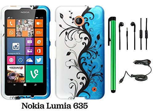 Nokia Lumia 635 (Us Carrier: T-Mobile, Metropcs, And At&T) Premium Pretty Design Protector Cover Case + Car Charger + 3.5Mm Stereo Earphones + 1 Of New Assorted Color Metal Stylus Touch Screen Pen (Blue Silver Black Vine Swirl)