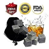 Best Whiskey Stones Gift Set - Soapstone Whiskey Rocks and a Velvet Bag -Set of 9- Stylish Gift Box