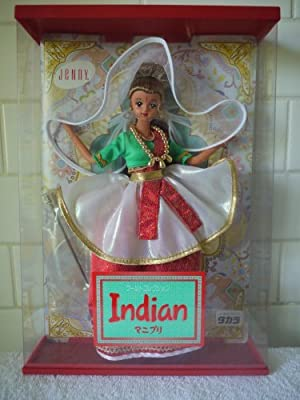 Japanese Jenny Indian Doll in Green, Red and White Outfit by Jenny