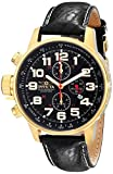 Invicta Force Men's Quartz Watch with Black Dial Chronograph Display and Black Leather Strap in Gold Plated Stainless Steel Case 3330