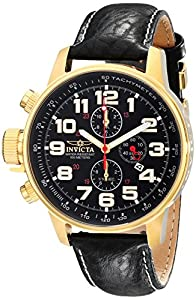 """Invicta Men's 3330 """"Force Collection"""" Stainless Steel Left-Handed Watch with Leather Band"""