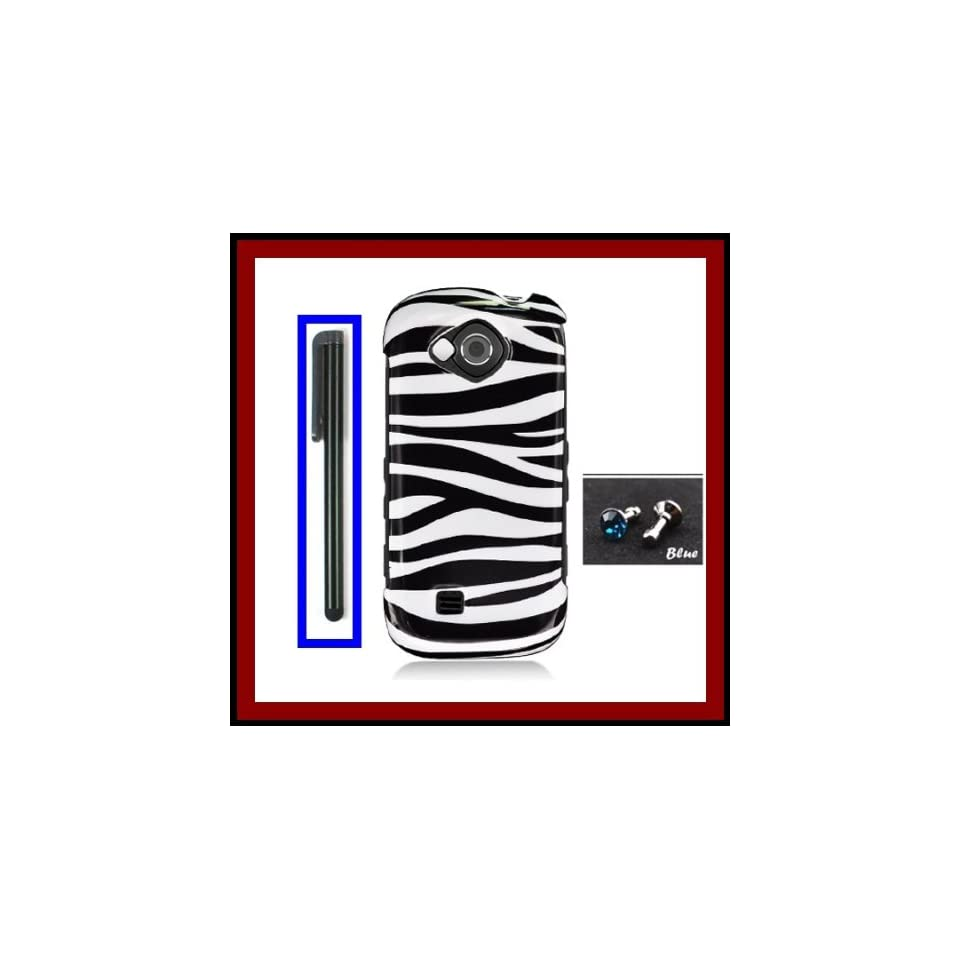 For Samsung U820 Reality Glossy Black White Zebra Design Snap on Case Cover Front/Back + Black Stylus Touch Screen Pen + One FREE Blue 3.5mm Bling Headset Dust Plug
