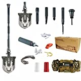 Essentials Car Family Kit,Chafon New Mini Compact Multifunctional Emergency Shovel Outdoor Camping Folding Survival Shovel Kit-Sappers Shovel-Mercenaries Multi-function Outdoor Entrenching Tools for Hiking & Camping Gardening, Auto Emergency, Military, Self-Defense & More-High-Carbon Steel (Luxury Type)