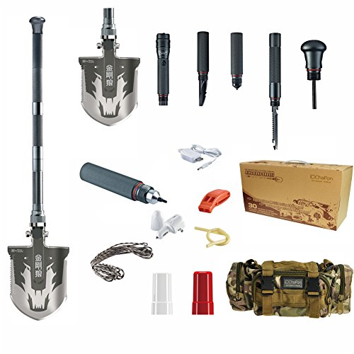 Chafon New Mini Compact Multifunctional Emergency Shovel Outdoor Camping Folding Survival Shovel Kit-Sappers Shovel-Mercenaries Multi-function Outdoor Entrenching Tools for Hiking & Camping Gardening, Auto Emergency, Military, Self-Defense & More-High-Carbon Steel (Luxury Type)