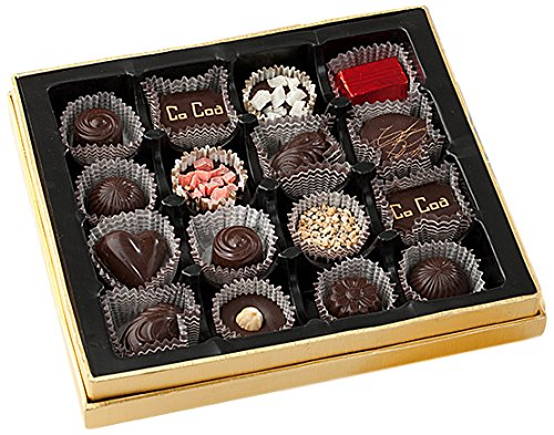 CoCoa Confection Gold, Showcase Window Chocolate Gift Box, 16 Count