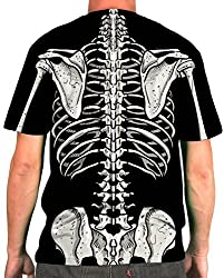 Spooky Halloween Costume T Shirt - Skeleton Bones Back and Front Tee from Crazy Dog Tshirts