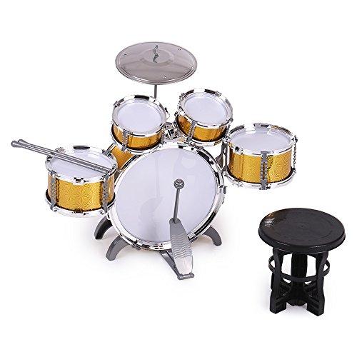 ammoon 10点セット キッズドラム ドラムセット 3色選択 楽器 玩具 1バスドラム/4ドラム/1小シンバル/2ドラムスティック/フットペダル/1スツール付き