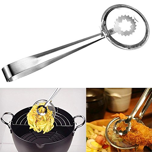 Wonderful Fry Tools | Innovative 2 in 1 Kitchen Tool Serving Strainer Tongs in One Easy Grasp for Deep Frying and Drain Oil Fried Food | Food Grade Anti-Rust Stainless Steel Wire | 769 (Strainer Frying compare prices)
