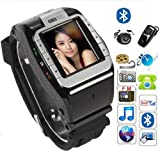 Asmart center® New fashion 1.4inch UNLOCKED Watch Cell Phone Camera Touch Screen Support SIM card Camera,video recording smart watch N388-black