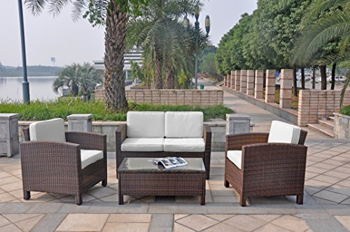 XINRO-13tlg-Deluxe-Lounge-Mbel-Set-Gruppe-Garnitur-Gartenmbel-Lounge-Set-Rattan-Polyrattan-Sitzgruppe-inkl-Lounge-Sofa-Sessel-Tisch-Glasplatte-mit-Kissen-InOutdoor-handgeflochten-braun
