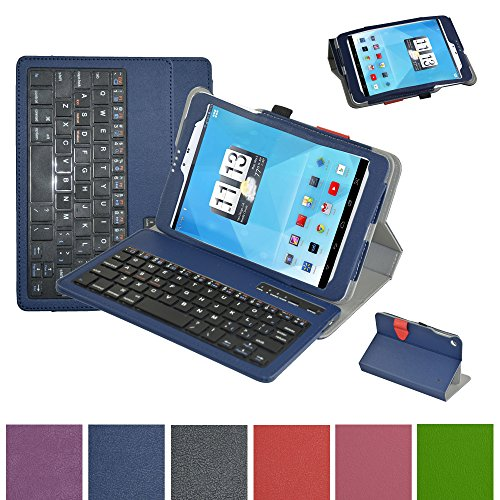 """Mama Mouth Bluetooth Keyboard case--Coustom Design Slim Stand PU Leather Case Cover With Romovable Bluetooth Keyboard For 7.85"""" Trio AXS 4G 3G Android Tablet Blue at Electronic-Readers.com"""