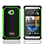 Bayke Brand for HTC One M7 Dual Layer 2in1 Hybrid Armor Bumper PC and Soft Silicone Rubber Gel Skin Case (Green)