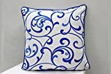 AURAVE Contemporary Bail Design Premium Cotton Cushion Cover - Blue - set of two - 12 inch x 12 inch