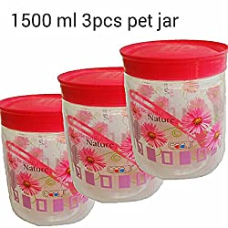Saaz. 1500 ml beautiful nature Flora Priented round airtight pet plastic Set of 3 Kitchen Containers with spoon.(pink Clear)