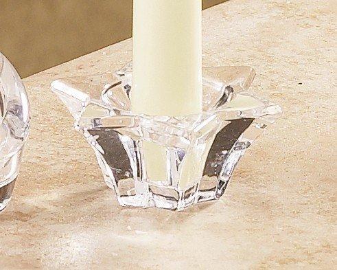 Biedermann & Sons Clear-Glass Taper or Tea-Light Candleholders, Stars, Set of 6